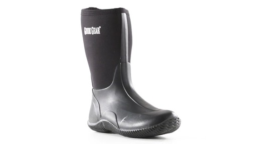 Guide Gear Men's Mid Bogger Waterproof Rubber Boots Black 360 View - image 1 from the video