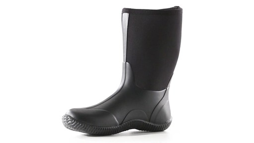 Guide Gear Men's Mid Bogger Waterproof Rubber Boots Black 360 View - image 3 from the video