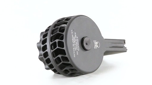 X-Products X-25-S AR-10 .308 Winchester Skeletonized Drum Magazine 50 Rounds 360 View - image 9 from the video