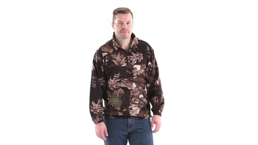 Guide Gear Men's Quarter Zip Camo Fleece Pullover Jacket 360 View - image 1 from the video