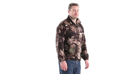 Guide Gear Men's Quarter Zip Camo Fleece Pullover Jacket 360 View - image 2 from the video