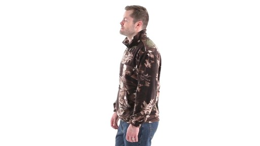 Guide Gear Men's Quarter Zip Camo Fleece Pullover Jacket 360 View - image 5 from the video