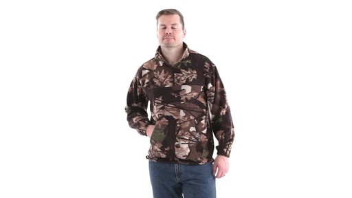 Guide Gear Men's Quarter Zip Camo Fleece Pullover Jacket 360 View - image 6 from the video
