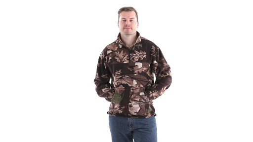 Guide Gear Men's Quarter Zip Camo Fleece Pullover Jacket 360 View - image 7 from the video