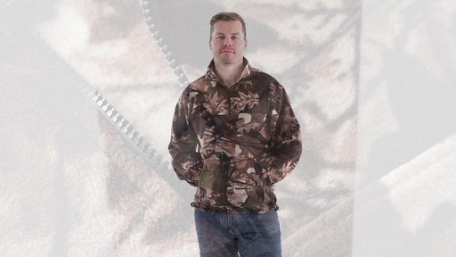 Guide Gear Men's Quarter Zip Camo Fleece Pullover Jacket 360 View - image 8 from the video