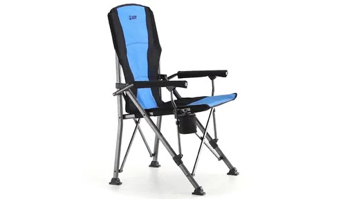 Guide Gear Oversized Champion Hard Arm Camp Chair Blue 360 View - image 4 from the video