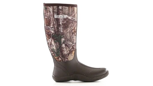 Guide Gear Men's High Camo Waterproof Rubber Boots Realtree Xtra 360 View - image 1 from the video