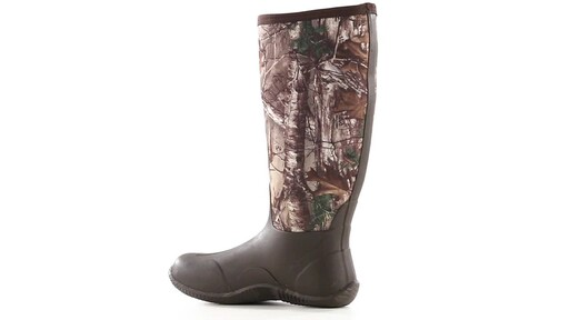 Guide Gear Men's High Camo Waterproof Rubber Boots Realtree Xtra 360 View - image 4 from the video