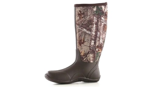 Guide Gear Men's High Camo Waterproof Rubber Boots Realtree Xtra 360 View - image 5 from the video