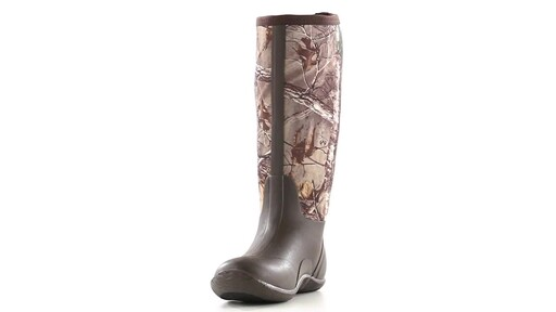 Guide Gear Men's High Camo Waterproof Rubber Boots Realtree Xtra 360 View - image 6 from the video