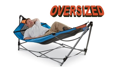 Guide Gear Oversized Portable Folding Hammock Blue/Orange 350-lb. Capacity - image 1 from the video