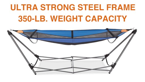 Guide Gear Oversized Portable Folding Hammock Blue/Orange 350-lb. Capacity - image 4 from the video