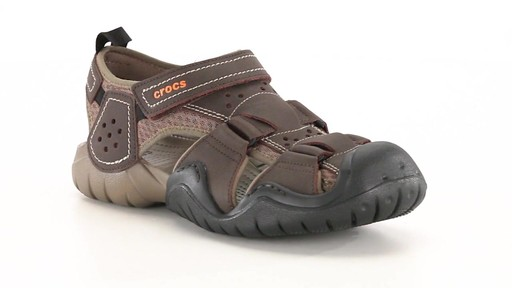 Crocs Men's Swiftwater Leather Fisherman Sandals 360 View - image 1 from the video