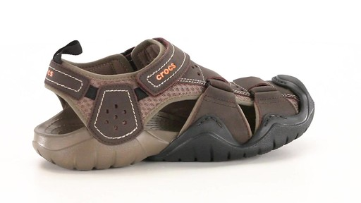 Crocs Men's Swiftwater Leather Fisherman Sandals 360 View - image 10 from the video