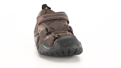 Crocs Men's Swiftwater Leather Fisherman Sandals 360 View - image 2 from the video