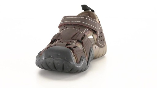 Crocs Men's Swiftwater Leather Fisherman Sandals 360 View - image 3 from the video