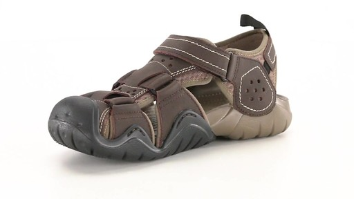 Crocs Men's Swiftwater Leather Fisherman Sandals 360 View - image 4 from the video