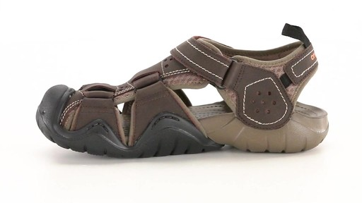 Crocs Men's Swiftwater Leather Fisherman Sandals 360 View - image 5 from the video