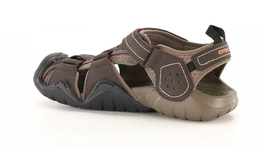 Crocs Men's Swiftwater Leather Fisherman Sandals 360 View - image 6 from the video