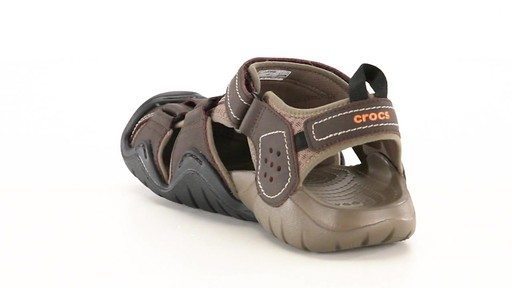 Crocs Men's Swiftwater Leather Fisherman Sandals 360 View - image 7 from the video