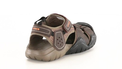 Crocs Men's Swiftwater Leather Fisherman Sandals 360 View - image 9 from the video