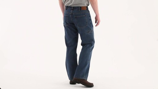Guide Gear Men's Flannel-Lined Denim Stone Wash Jeans 360 View - image 3 from the video
