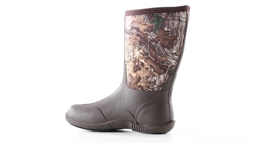 Guide Gear Men's Mid Camo Waterproof Rubber Boots Realtree Xtra 360 View - image 3 from the video