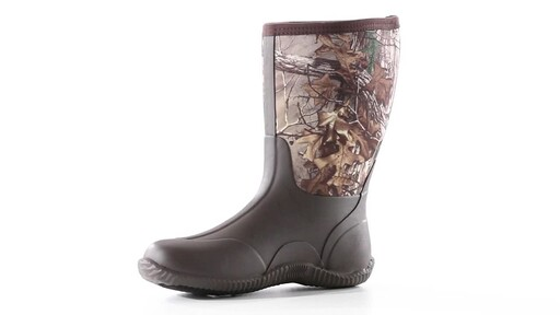 Guide Gear Men's Mid Camo Waterproof Rubber Boots Realtree Xtra 360 View - image 4 from the video