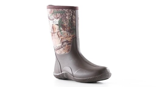 Guide Gear Men's Mid Camo Waterproof Rubber Boots Realtree Xtra 360 View - image 6 from the video