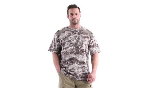 Guide Gear Men's Performance Fishing Short Sleeve Shirt Mossy Oak Elements Agua 360 View - image 9 from the video