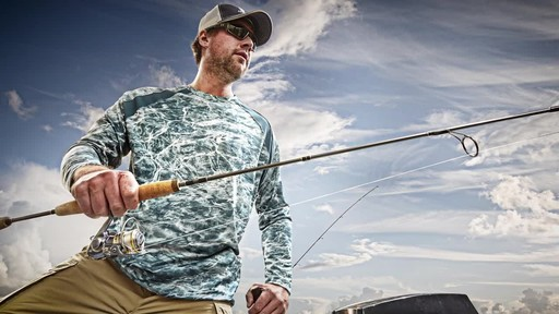 Guide Gear Men's Performance Fishing Long Sleeve Shirt Mossy Oak Elements Agua - image 2 from the video