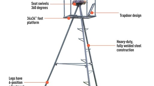 Guide Gear 13' Deluxe Tripod Deer Stand - image 6 from the video