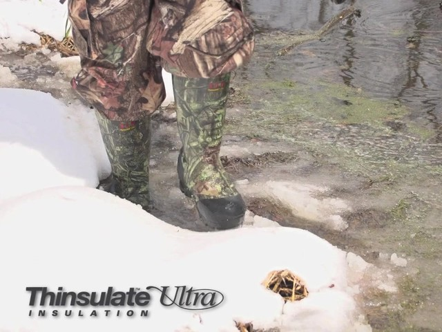 Men's Guide Gear® 800 gram Thinsulate™ Ultra Insulation Rubber / Neoprene Universal Hunting Boots Mossy Oak Infinity® - image 6 from the video