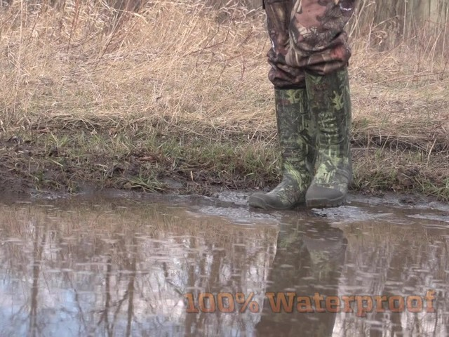 Men's Guide Gear® 800 gram Thinsulate™ Ultra Insulation Rubber / Neoprene Universal Hunting Boots Mossy Oak Infinity® - image 8 from the video