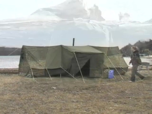 Used Russian Military 8x18' Canvas Tent Olive Drab - image 1 from the video