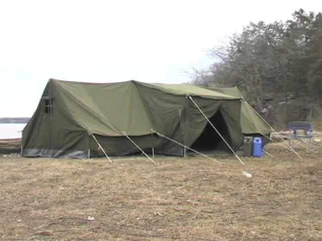 Used Russian Military 8x18' Canvas Tent Olive Drab - image 10 from the video