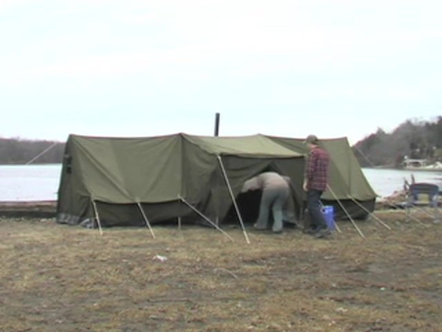 Used Russian Military 8x18' Canvas Tent Olive Drab - image 2 from the video