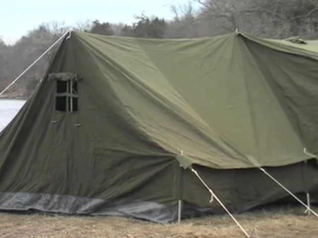 Used Russian Military 8x18' Canvas Tent Olive Drab - image 3 from the video