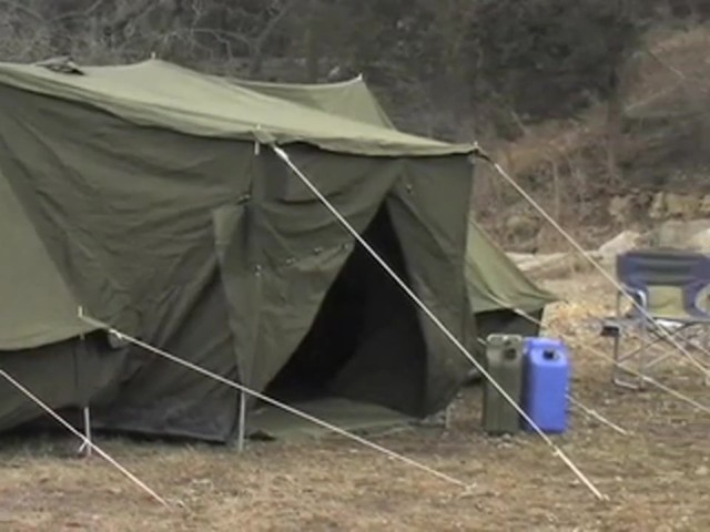 Used Russian Military 8x18' Canvas Tent Olive Drab - image 4 from the video