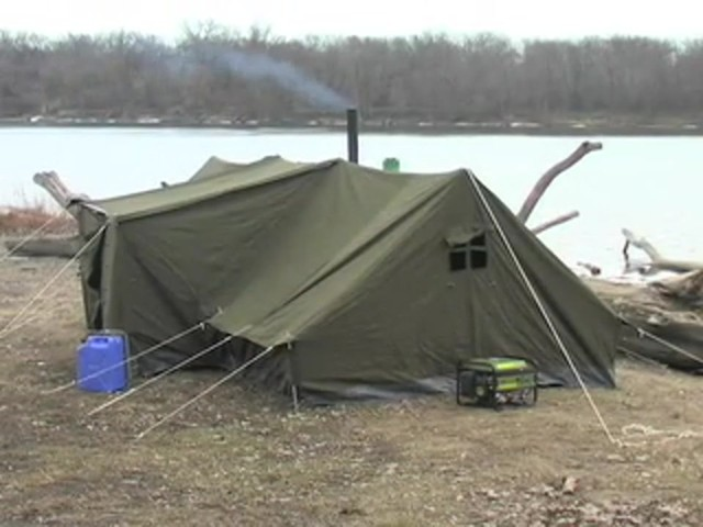 Used Russian Military 8x18' Canvas Tent Olive Drab - image 8 from the video