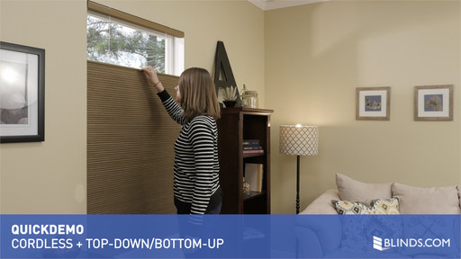 quickdemo cordless lift with top down bottom up for cellular shades room darkening and. Black Bedroom Furniture Sets. Home Design Ideas