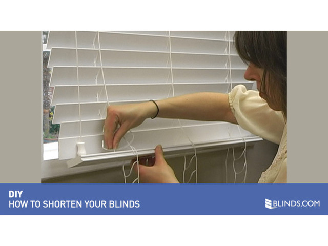 how to shorten window blinds wood and faux wood video diy tutorial from blinds. Black Bedroom Furniture Sets. Home Design Ideas