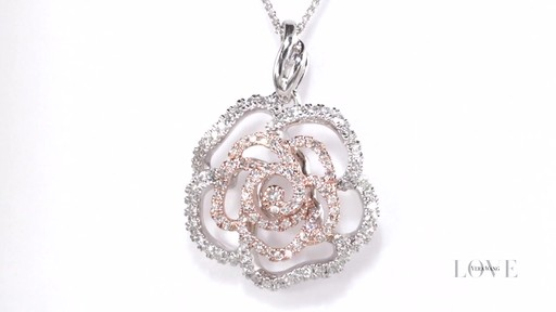 Diamond Rose Outline Pendant In 14k Two Tone Gold Vera