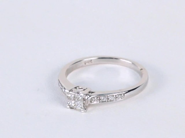 Princess Cut Quad Diamond Engagement Ring In 10k White