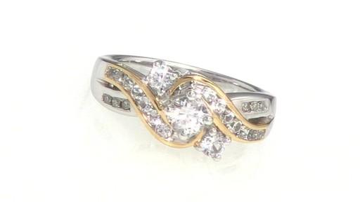 Lab Created White Sapphire Three Stone Swirl Ring In