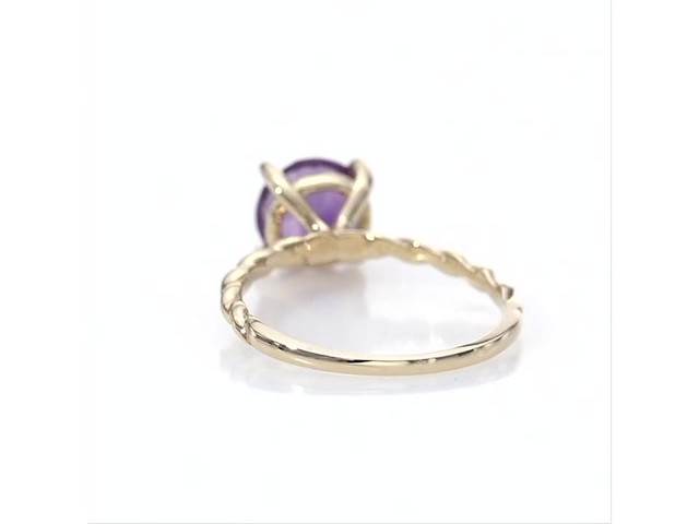 8 0mm Amethyst Solitaire Rope Shank Ring In 10k Gold