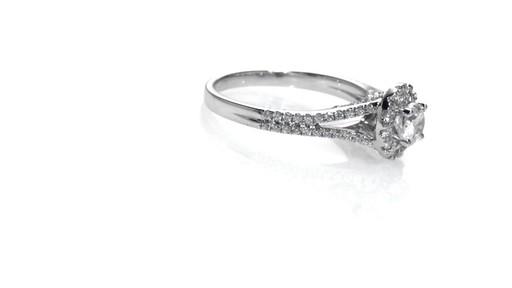 Diamond Frame Split Shank Engagement Ring in 14K White Gold Women s Siz