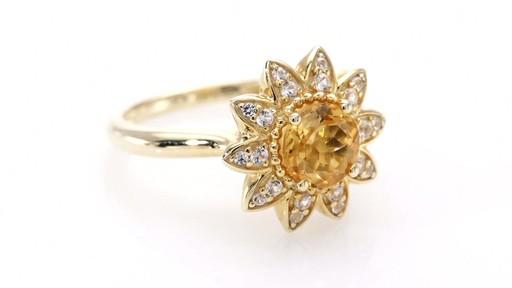 Bloem Citrine And White Sapphire Sunflower Ring In 10k