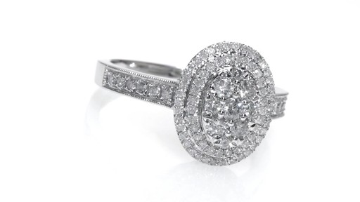 Composite Diamond Oval Double Frame Engagement Ring in 10K White ...