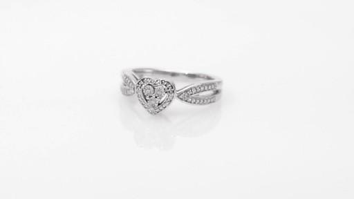 Diamond Accent Heart Frame Split Shank Ring in Sterling Silver ...